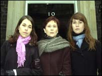 Helene Atkinson with her daughters Nina (left) and Alice, outside Number 10