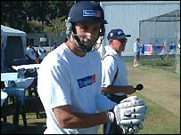 Thrasy Petropoulos pads up as he prepares to face the Australian bowling attack