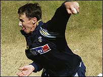 Hogg bowling in the nets