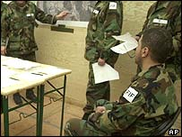 Iraqi volunteers being taught at Taszar airbase
