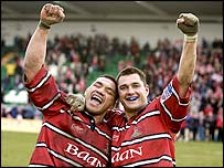 Gloucester's Junior Paramore and Thinus Delport celebrate their thrilling victory