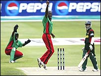 Martin Suji of Kenya successfully appeals for the lbw wicket of Mohammad Ashraful of Bangladesh
