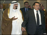 Crown Prince Abdullah (left) and Hosni Mubarak