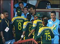 Pakistan's players say well done to India after the match