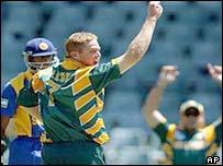Shaun Pollock takes a wicket