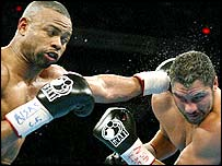 Roy Jones Jr (left) during his heavyweight bout against John Ruiz