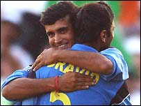 Sourav Ganguly embraces Rahul Dravid after India's victory over Pakistan at Centurion
