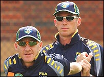 Andy Bichel and Glenn McGrath in training