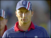 England captain Nasser Hussain contemplates defeat