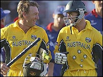Australia's Andy Bichel (left) and Michael Bevan celebrate victory