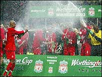 Liverpool celebrate with champagne