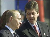 Russian President Vladimir Putin (left) with Bulgarian President Georgi Parvanov in Sofia