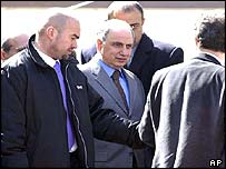 Ahmad Chalabi, head of the Iraqi National Congress, with his bodyguards at Salahuddin