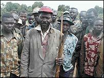 Ethnic militia fighters in north-east Congo