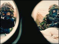 The view from inside a gas mask (Copyright: Crown)