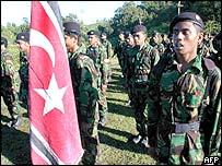 Flag of separatist rebels in Aceh with GAM troops