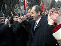 Robert Kocharyan with supporters