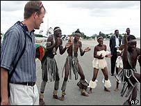 Lefebvre watches African dancers