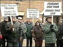 Pensioners protesting at council tax rises