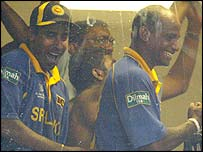 Sri Lanka celebrate after the result