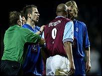 Aston Villa's Dion Dublin was dismissed for headbutting Birmingham Robbie Savage