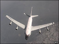 An archive photo of a US RC-135 reconnaissance plane