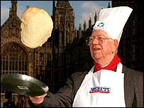 Lord Ashley flips a pancake