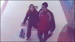 cctv image of naomi and her boyfriend in a Midlands shopping centre