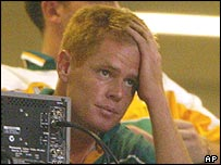 South African captain Shaun Pollock after losing to Sri Lanka and being knocked out of the World Cup