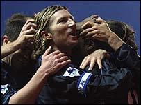 Robbie Savage celebrates with his Birmingham team-mates