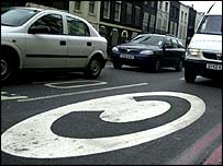 Congestion charge road sign
