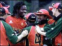 Zimbabwe's players celebrate