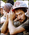 Ukrainian miners after a blast