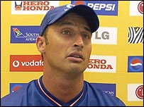 Nasser Hussain faces the media as he quits as one-day captain of England