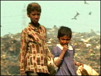 Children on a Dhaka rubbish tip