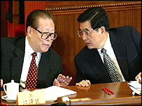 Jiang Zemin (L) and Hu Jintao