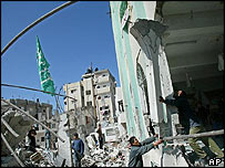 A damaged mosque in Gaza