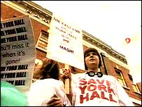 Supporters demonstrate outside York Hall