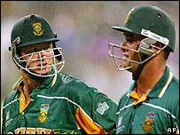South Africa's Lance Klusener and Mark Boucher