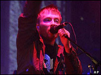 Radiohead's Thom Yorke in South Park, Oxford, in July 2001
