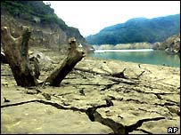 Dry riverbeds border dangerously low water levels at the Shihmen reservoir in Taiwan