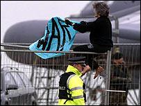 Anti-war protestor at RAF Fairford