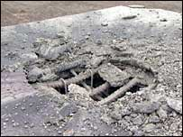 Reinforced concrete after a bomb blast