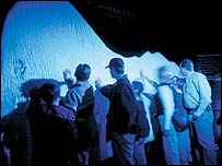 Visitors can touch iceberg