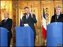 From left: Igor Ivanov, Dominique de Villepin, Joschka Fischer