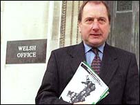 Ron Davies as Welsh Secretary leaves the Welsh Office, Cardiff