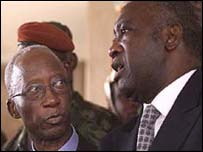 Prime Minister Seydou Diarra (l) and President Laurent Gbagbo