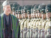 President Karzai inspects an Indian honour guard