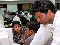 Indian IT workers at a software company in Bangalore, India