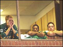 South Africa captain Shaun Pollock and others watch their World Cup dream slip away